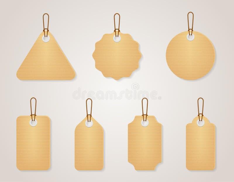 Uppsättning för etiketter för papp för tappningvektormellanrum royaltyfri illustrationer