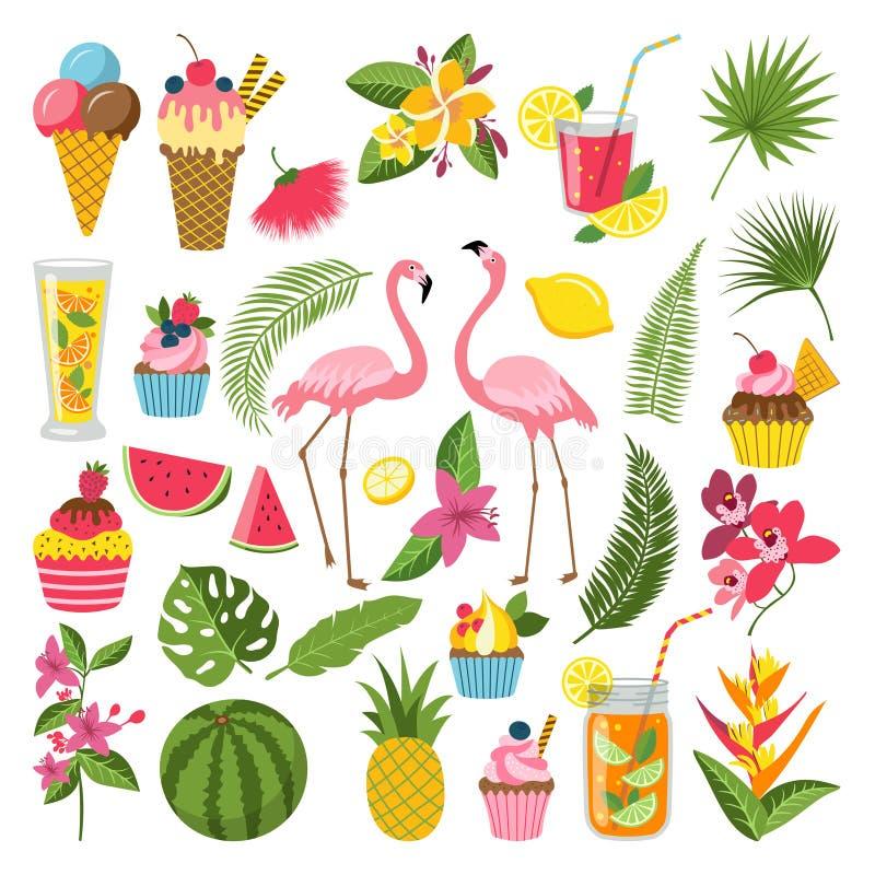Uppsättning för etiketter för sommartid för tropiskt parti Olika symboler i plan stil Drinkar, vattenmelon, lemonad och flamingo vektor illustrationer