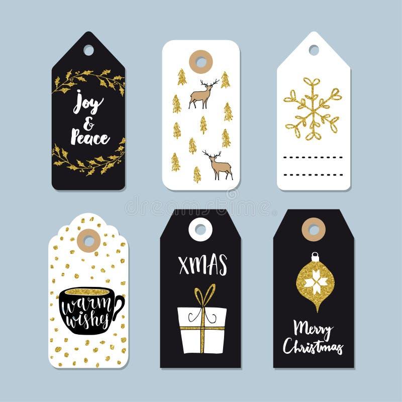 Uppsättning för etiketter för tappningjulgåva Hand drog etiketter med den guld- juljärnekkransen, hjortar, kaffe och gåva vektor illustrationer