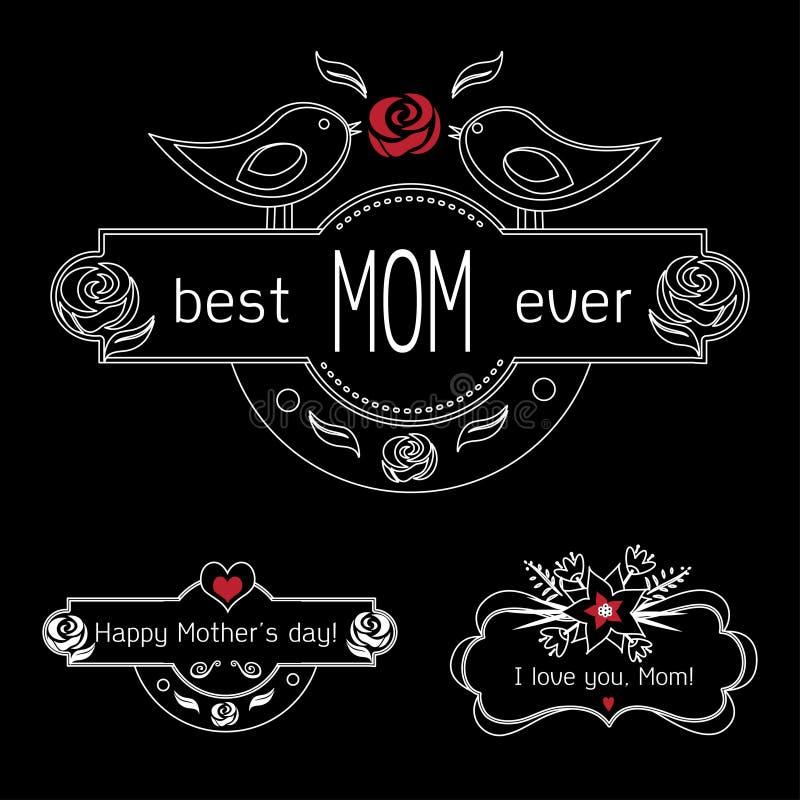 Uppsättning för etiketter för tappningmoderdag på den svart tavlan den bästa mamman någonsin, den lyckliga moderdagen och jag äls stock illustrationer