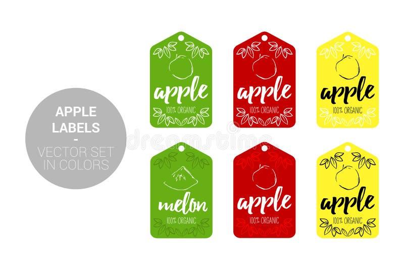 Uppsättning för etiketter för lager för Apple frukt naturlig i gröna, röda gula färger royaltyfri illustrationer