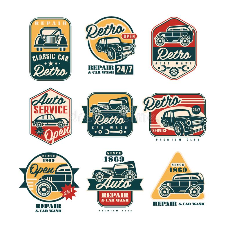 Uppsättning för etiketter för stil för bilreparationstappning, tjänste- logo för automatisk, emblemvektorillustrationer på en vit vektor illustrationer