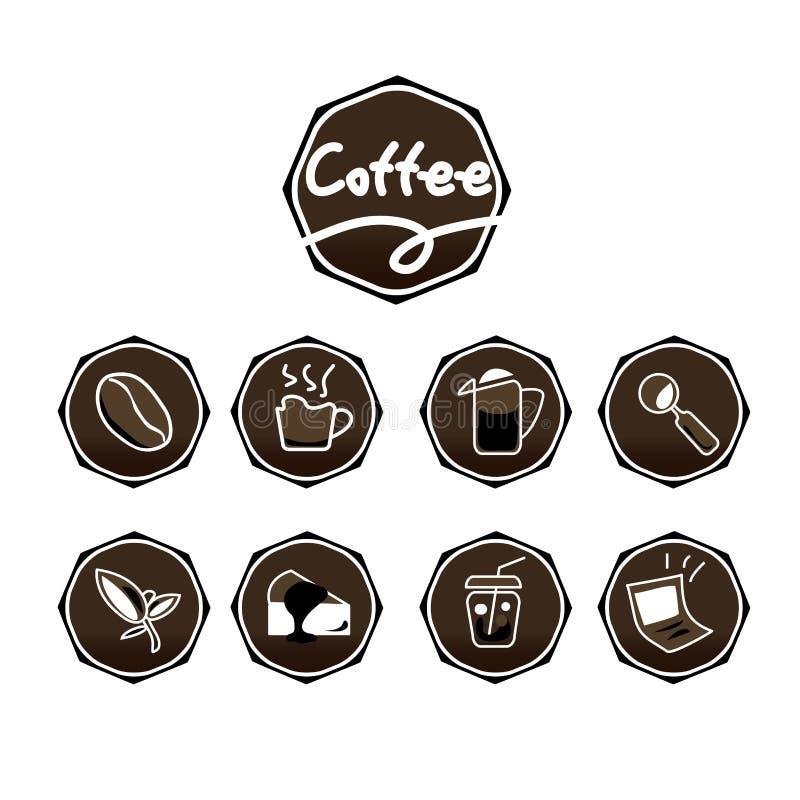 Uppsättning för färg för kaffesymboler brun arkivbilder