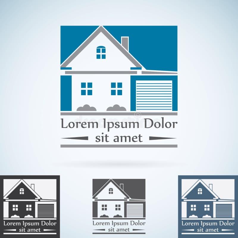 Uppsättning för färg för mall för design för Real Estate vektorlogo Abstrakt begreppssymbol för hus Symbol för fast egendomkonstr vektor illustrationer