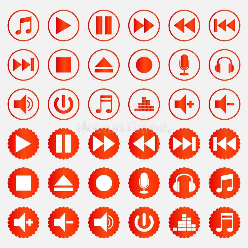 Uppsättning för färg för symboler för musikspelare vektor illustrationer