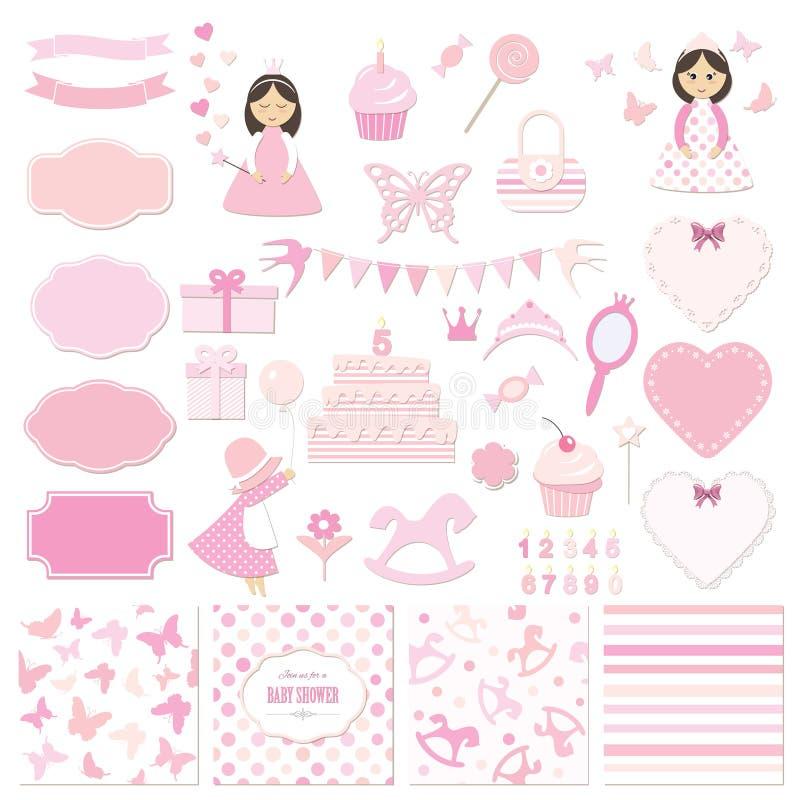 Uppsättning för födelsedag- och flickababy showerdesignbeståndsdelar vektor illustrationer