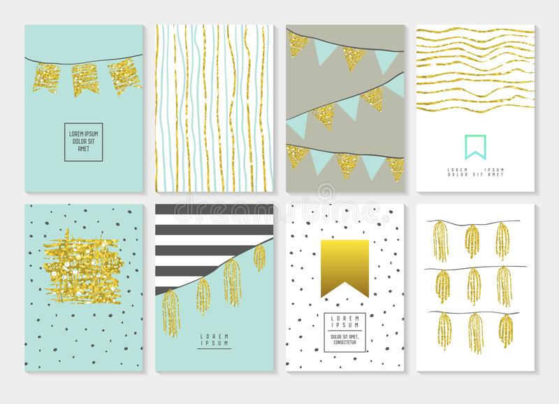 Uppsättning för födelsedaginbjudankort Guld- blänka reklambladet, royaltyfri illustrationer