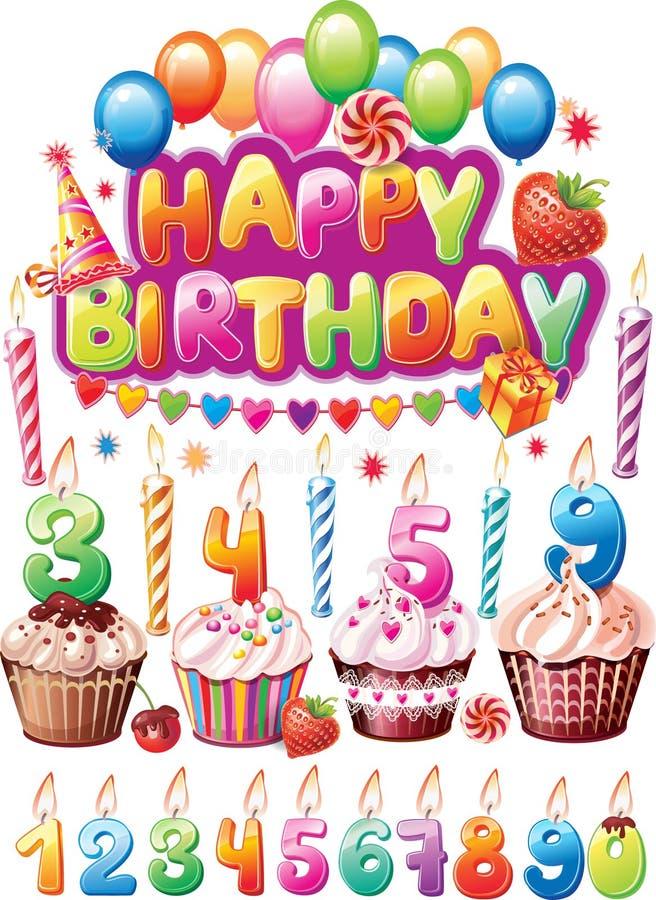 Uppsättning för födelsedagkort stock illustrationer