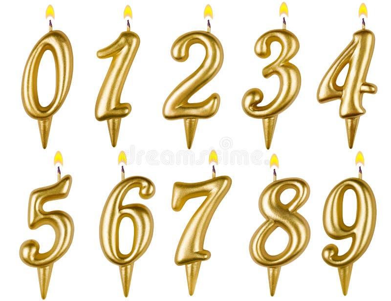 Uppsättning för födelsedagstearinljusnummer som isoleras på vit royaltyfri illustrationer