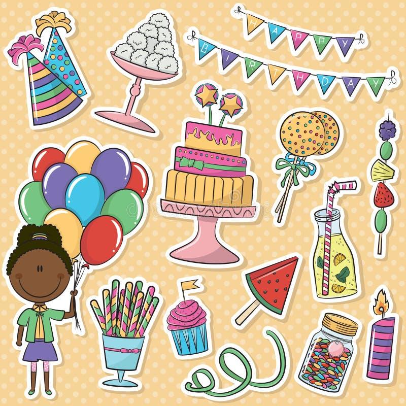 Uppsättning för födelsedagsymbolsklistermärkear stock illustrationer