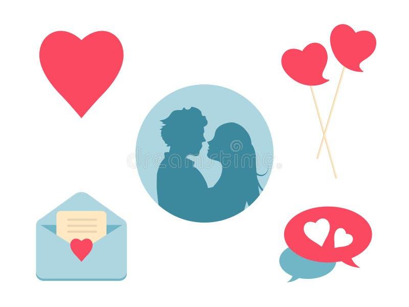 Uppsättning för förälskelsehjärtasymbol Planlägg beståndsdelar för dag och bröllop för valentin` s vektor illustrationer
