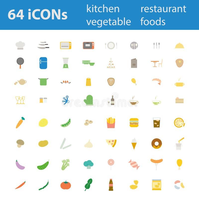Uppsättning för 64 för vektorillustration för kvalitets- design modern symboler vektor illustrationer