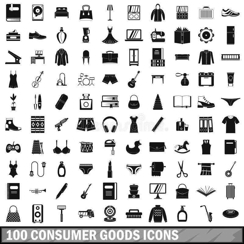 uppsättning för 100 förbrukningsartikelsymboler, enkel stil royaltyfri illustrationer
