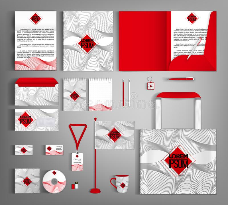 Uppsättning för företags identitet med den gråa vågprydnaden och den röda centrala beståndsdelen vektor illustrationer