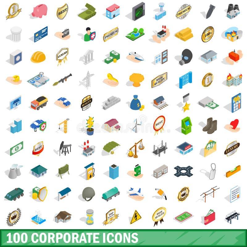 uppsättning för 100 företags symboler, isometrisk stil 3d stock illustrationer