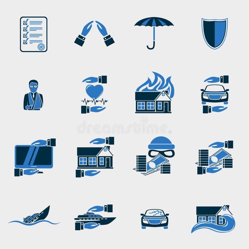 Uppsättning för försäkringsäkerhetssymboler royaltyfri illustrationer
