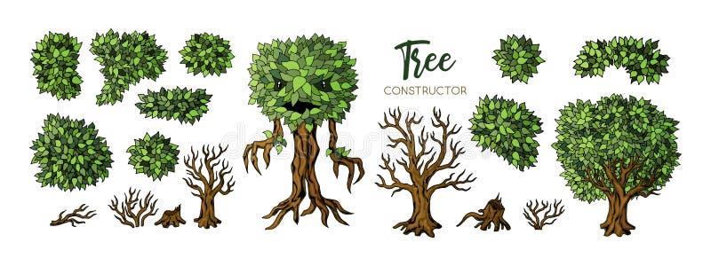 Uppsättning för fantasiträdkonstruktör Träd, sidor och filialbeståndsdelar för design stock illustrationer