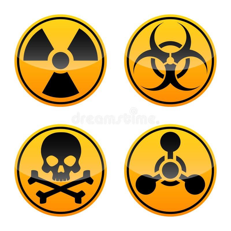 Uppsättning för faravektortecken Utstrålningstecknet, Biohazardtecknet, det giftliga tecknet, kemiska vapen undertecknar royaltyfri illustrationer