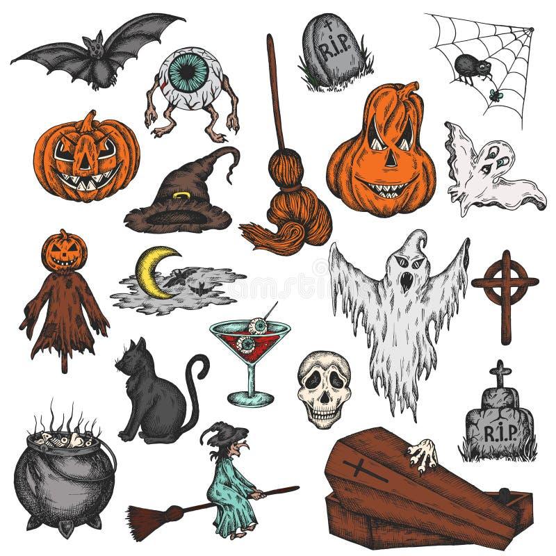 Uppsättning för fasa för tecknad film för allhelgonaaftonferie färgrik Läskig halloween spöke, häxa, pumpa, häxa, spöklik ögonvek royaltyfri illustrationer