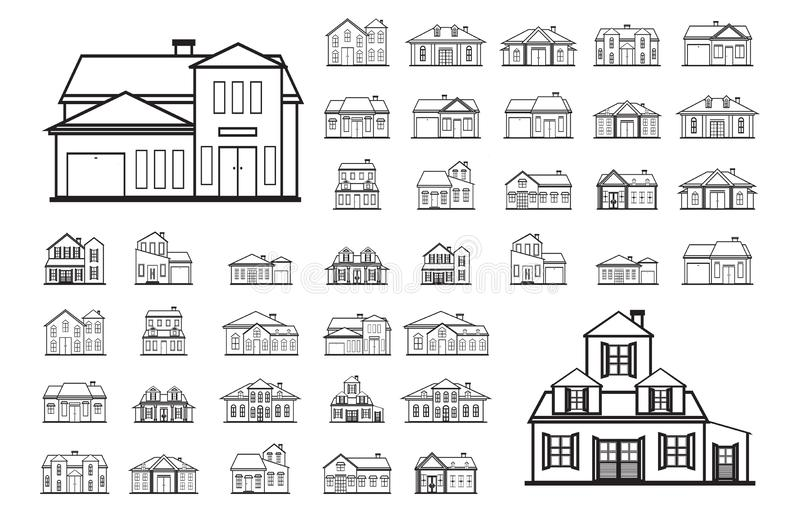 Uppsättning för fasadhusReal Estate Front View Line Art Outline symbol stock illustrationer
