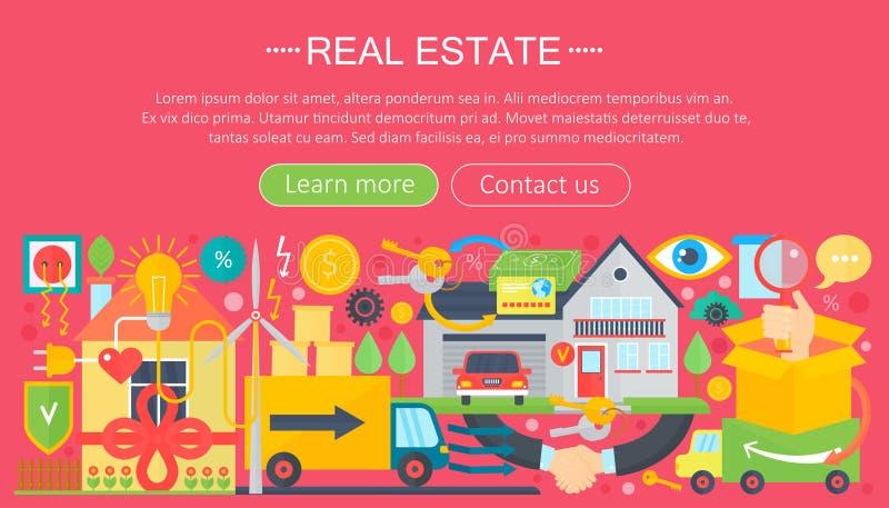 Uppsättning för fastighetdesignbegrepp med design för mall för infographics för symbol för lägenhet för köpande för marknad för o vektor illustrationer