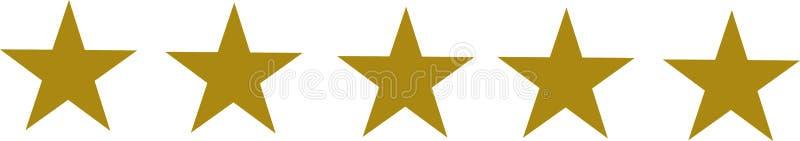 Uppsättning för fem guld- stjärnor vektor illustrationer