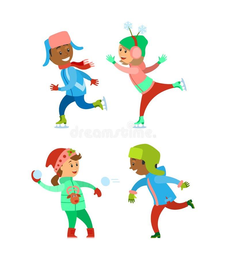 Uppsättning för ferier för semestrar för barnjulvinter stock illustrationer