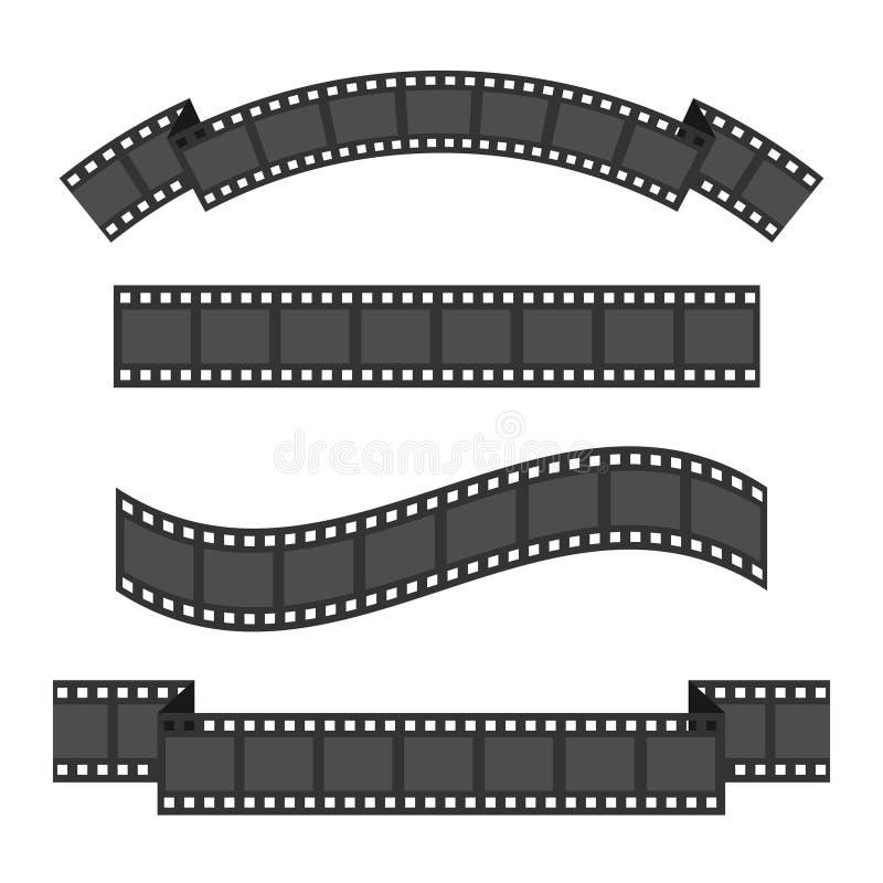 Uppsättning för filmremsaram fyra Olikt formband vektor för bild för designelementillustration Vit bakgrund isolerat plant vektor illustrationer