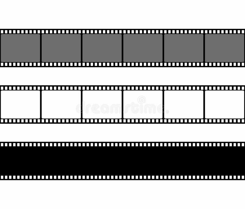 Uppsättning för filmremsaram i plan stil som isoleras på vit bakgrund vektor för bild för designelementillustration royaltyfri illustrationer