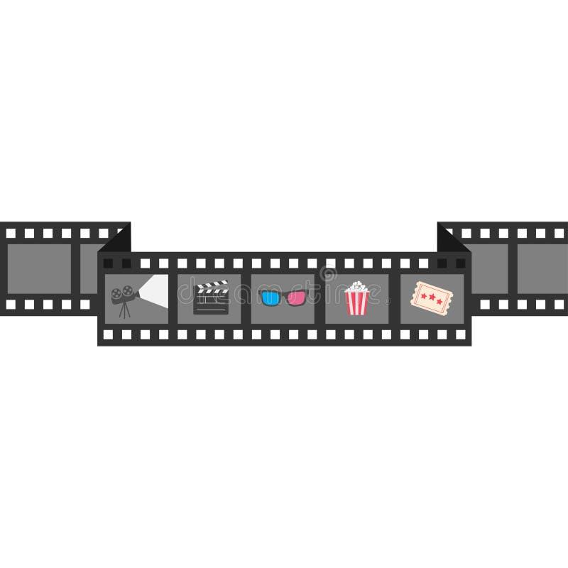 Uppsättning för filmremsasymbol Popcorn clapperbräde, 3D exponeringsglas, biljett, projektor Biofilmnatt Vit bakgrund isolerat pl stock illustrationer