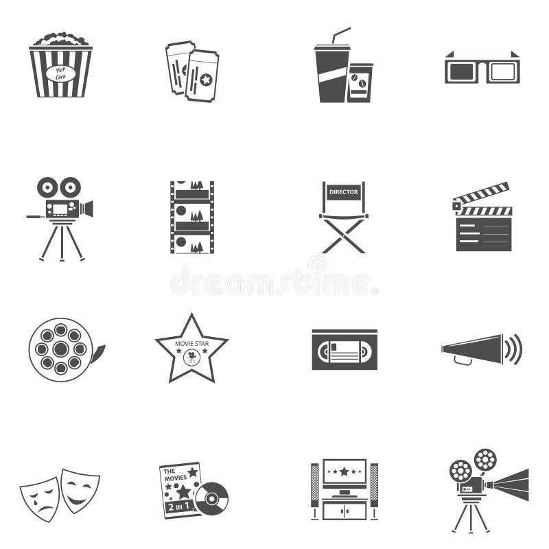 Uppsättning för filmsymbolssvart royaltyfri illustrationer