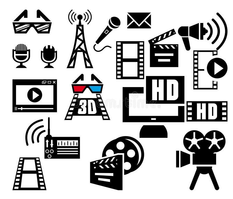 Uppsättning för filmvektorsymboler på grå färger stock illustrationer