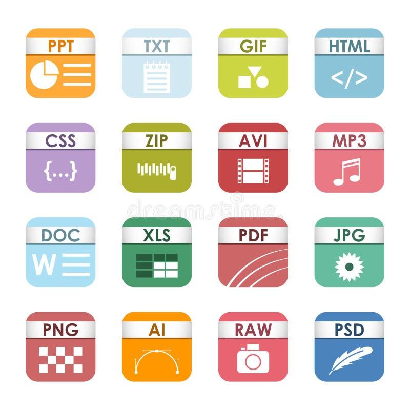 Uppsättning för filtypsymbolsvektor royaltyfri illustrationer