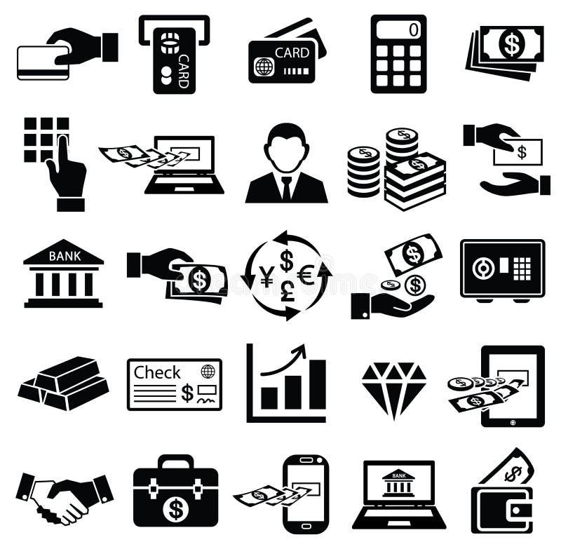 Uppsättning för finanspengarsymbol, royaltyfri illustrationer