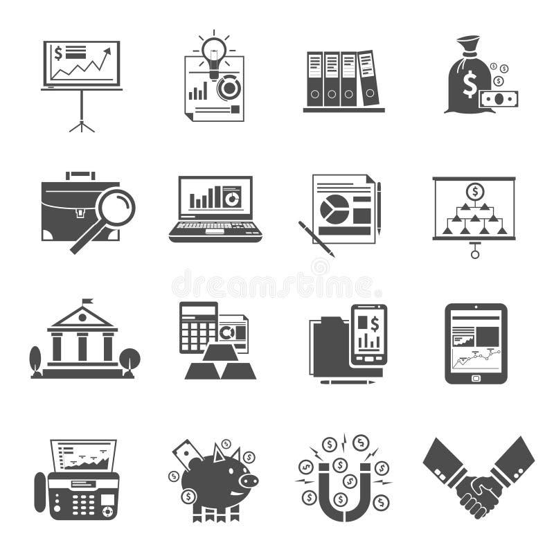 Uppsättning för finanssymbolssvart royaltyfri illustrationer