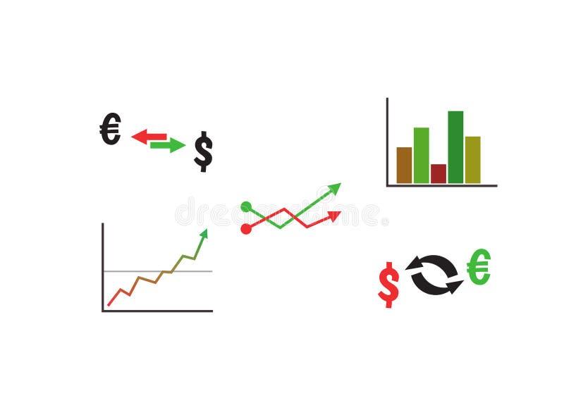 Uppsättning för finansvektorsymbol med graf- och valutautbyte Grafiskt affärssymbol för information Röd förlust plus grön vinst vektor illustrationer