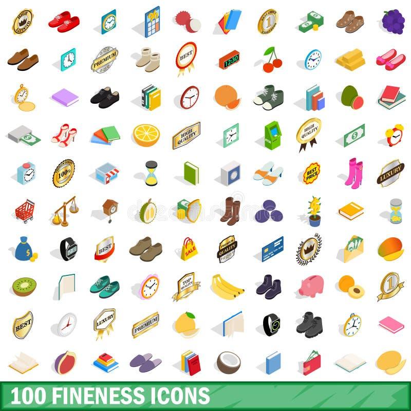 uppsättning för 100 finhetsymboler, isometrisk stil 3d royaltyfri illustrationer