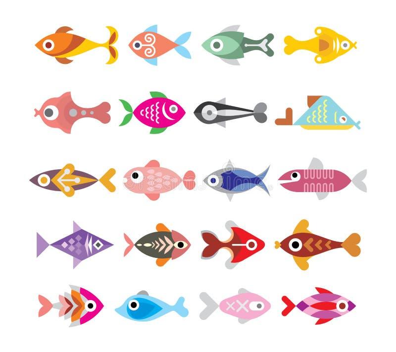 Uppsättning för fiskvektorsymbol royaltyfri illustrationer