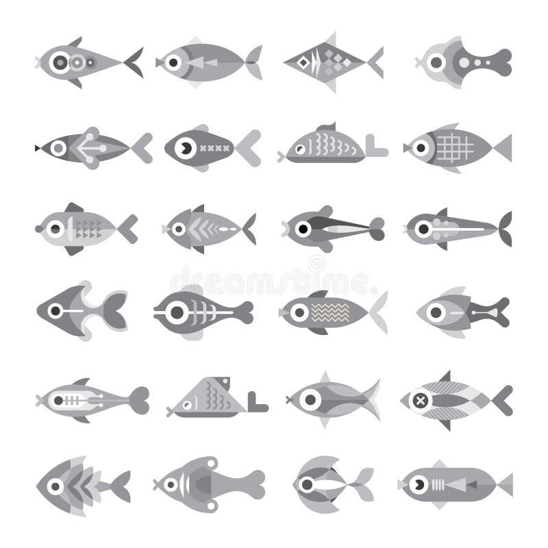 Uppsättning för fiskvektorsymbol stock illustrationer