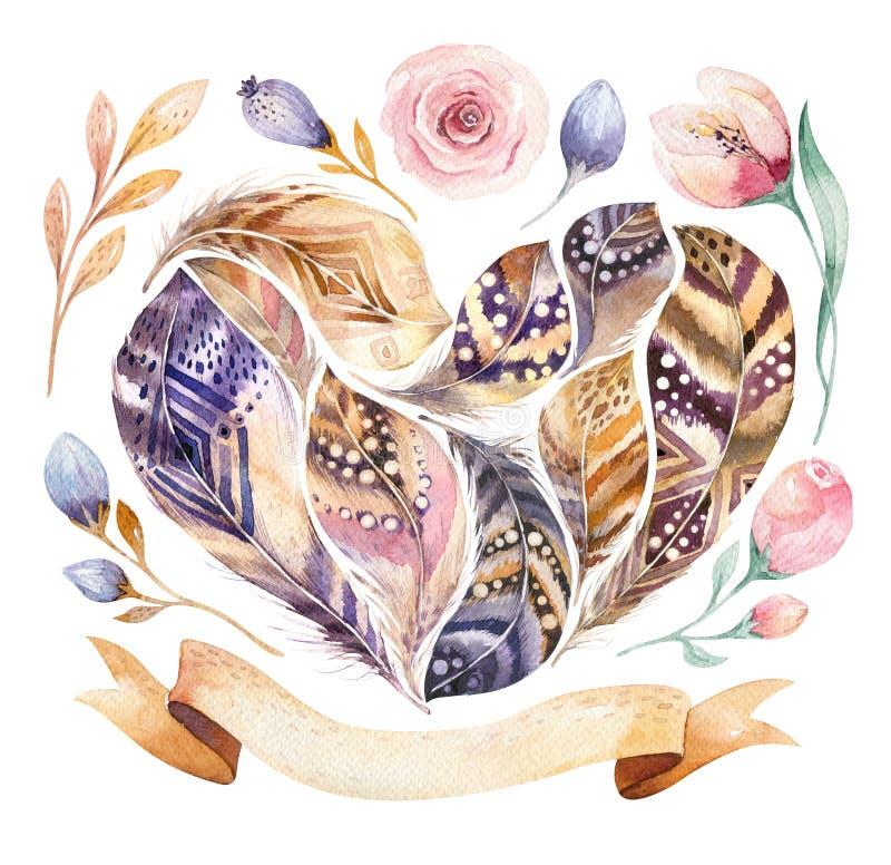 Uppsättning för fjäder för målningar för vattenfärg hand dragen vibrerande Boho stil befjädrar hjärtaform Förälskelseillustration royaltyfri illustrationer