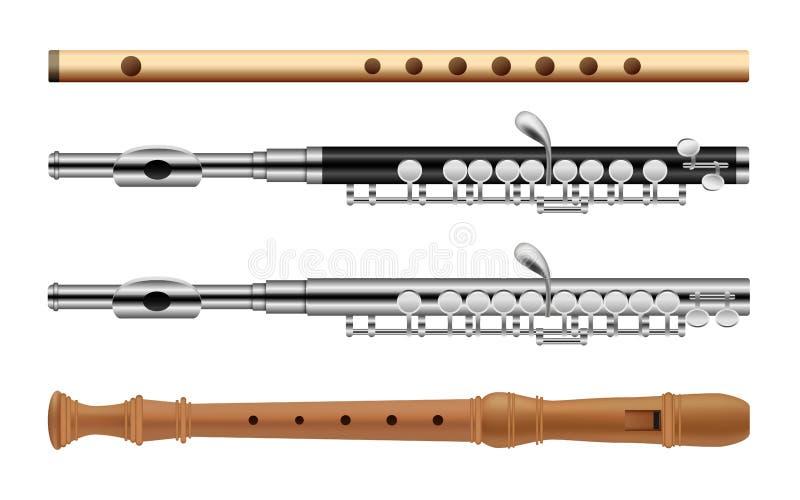 Uppsättning för flöjtmusikinstrumentsymboler, lägenhetstil stock illustrationer