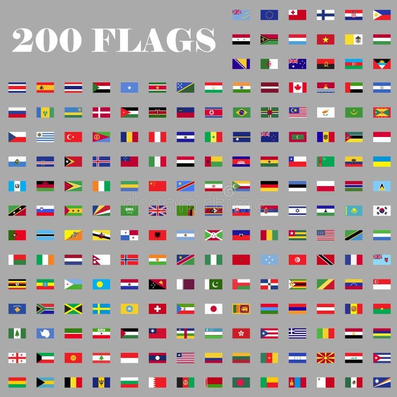 Uppsättning för 200 flaggor av världen stock illustrationer