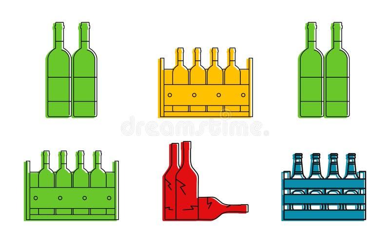 Uppsättning för flaskgruppsymbol, färgöversiktsstil stock illustrationer