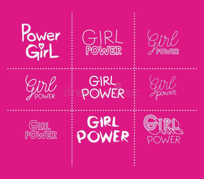 Uppsättning för flickamaktklistermärkear i magentafärgad bakgrund royaltyfri illustrationer