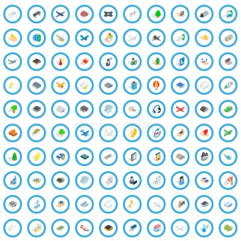 uppsättning för 100 flygsymboler, isometrisk stil 3d stock illustrationer