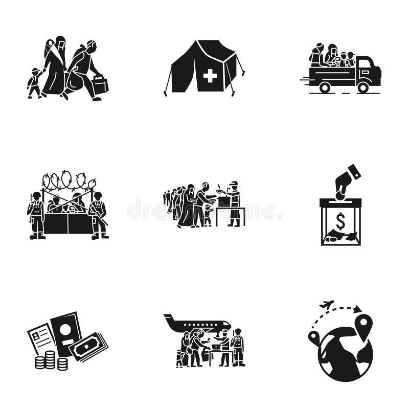 Uppsättning för flyktingfolksymbol, enkel stil royaltyfri illustrationer
