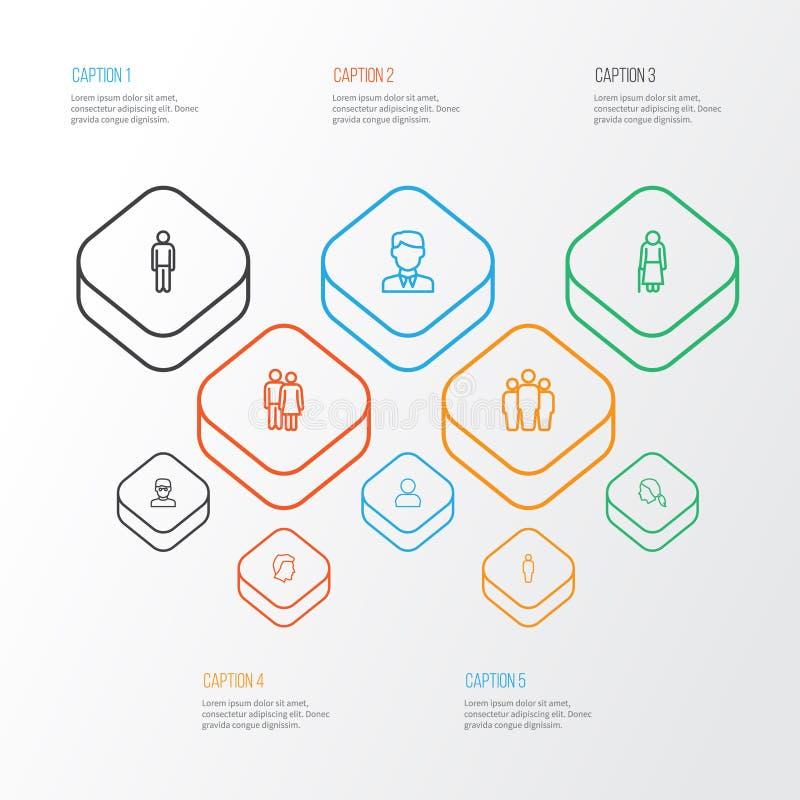 Uppsättning för folköversiktssymboler Samling av huvud, lag, smart man och andra beståndsdelar Inkluderar också symboler liksom g vektor illustrationer