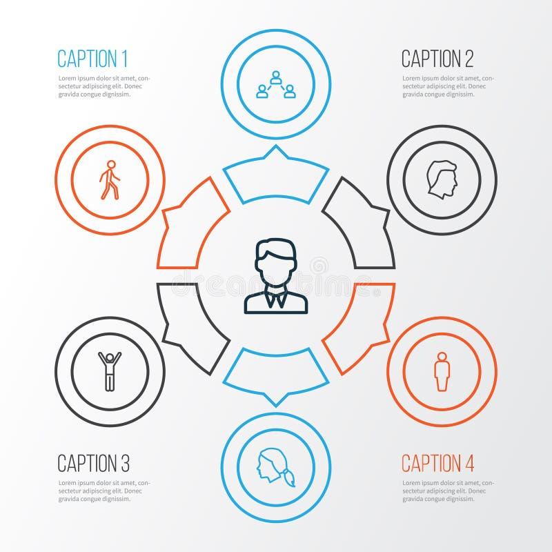 Uppsättning för folköversiktssymboler Samling av social förbindelse, man, huvud och andra beståndsdelar Inkluderar också symboler stock illustrationer