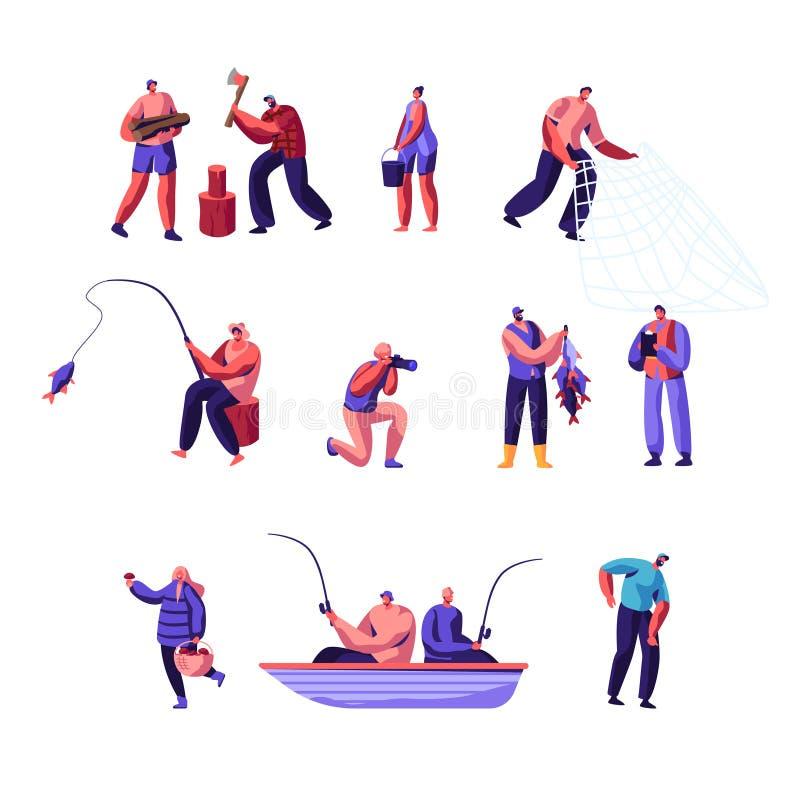 Uppsättning för folkdet friaaktivitet Man och kvinnliga tecken som har aktiv fritid på naturen och att hugga av trän som fiskar royaltyfri illustrationer