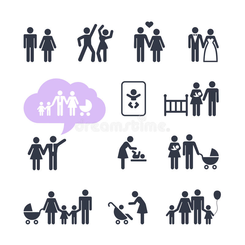 Uppsättning för folkfamiljPictogram royaltyfri illustrationer